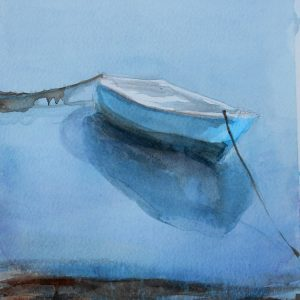 Blue boat at waters edge
